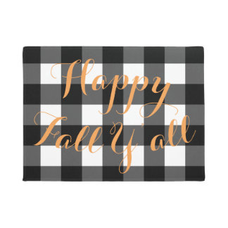 Happy Fall Y'all Buffalo Check Door Mat