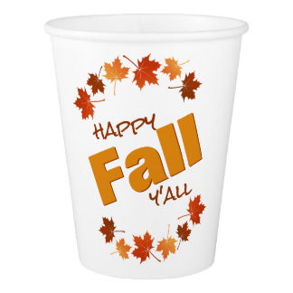 happy fall y'all colorful autumn maple leaves paper cup
