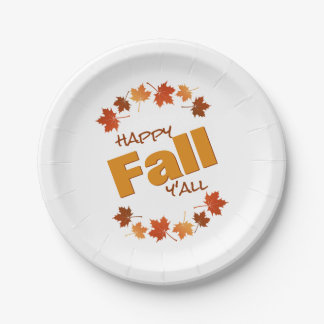 happy fall y'all greeting autumn maple leaves paper plate