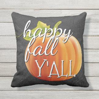 Happy Fall Yall Pumpkin On Chalkboard Cushion