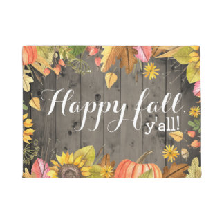 Happy Fall Y'all Rustic Country Autumn Doormat
