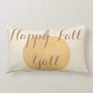 Happy Fall, Y'all Rustic Pumpkin Pillow