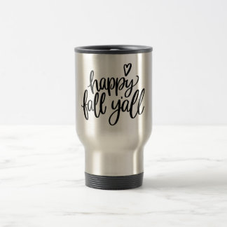 Happy Fall Y'all Stainless Steel Gray Travel Mug