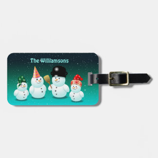 Happy Family Of Snowmen Luggage Tag