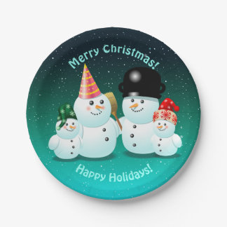 Happy Family Of Snowmen Paper Plate