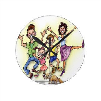 Happy Family Round Clock
