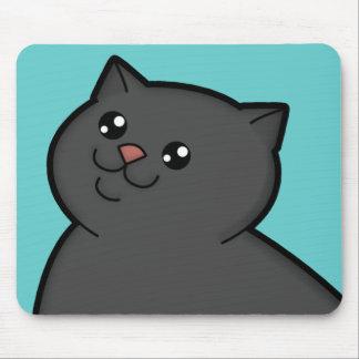Happy Fat Black Cat Mousepad