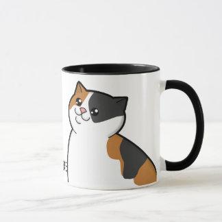 Happy Fat Calico Cat Ringer Mug