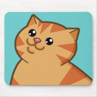 Happy Fat Orange Cat Mouse Pads