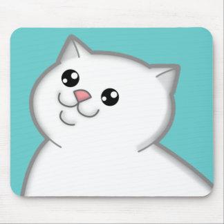 Happy Fat White Cat Mousepad