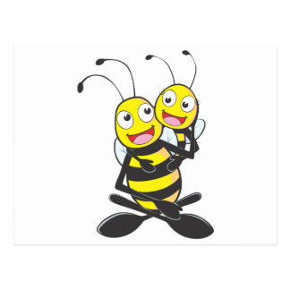 Happy Father and Daughter Bee Having Fun Postcard