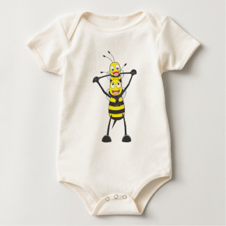 Happy Father and Son Bee Having Fun Baby Bodysuit