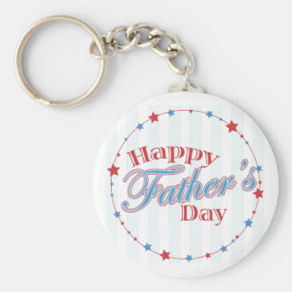 Happy Father's Day Stars Basic Round Button Key Ring