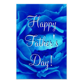 Happy Father s Day Blue Rose I Poster