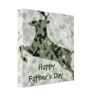 Happy Father s Day Camo Deer Gallery Wrap Canvas
