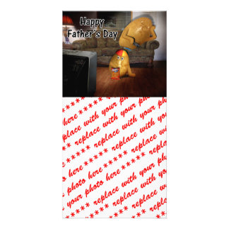 Happy Father s Day - Couch Potatoes Dad Asleep Photo Card