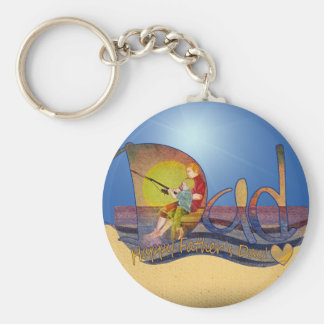 Happy Father s day dad son fishing keychains