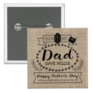 Happy Father's Day Number 1 One Dad Monogram Logo 15 Cm Square Badge