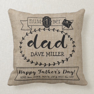 Happy Father's Day Number 1 One Dad Monogram Logo Cushion