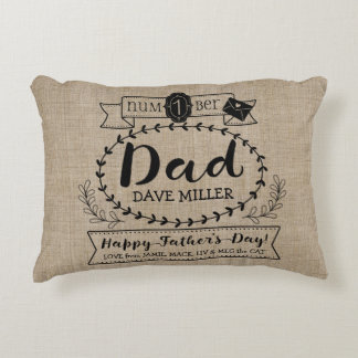 Happy Father's Day Number 1 One Dad Monogram Logo Decorative Cushion