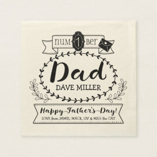 Happy Father's Day Number 1 One Dad Monogram Logo Disposable Serviette