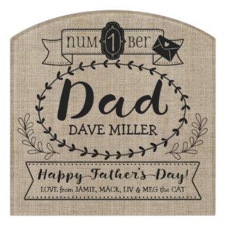 Happy Father's Day Number 1 One Dad Monogram Logo Door Sign