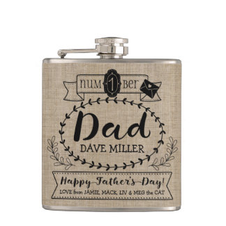 Happy Father's Day Number 1 One Dad Monogram Logo Hip Flask