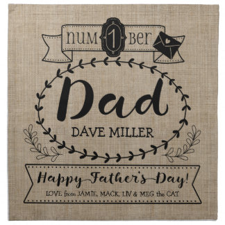 Happy Father's Day Number 1 One Dad Monogram Logo Napkin