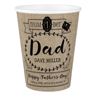 Happy Father's Day Number 1 One Dad Monogram Logo Paper Cup