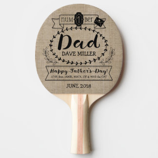 Happy Father's Day Number 1 One Dad Monogram Logo Ping Pong Paddle