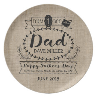 Happy Father's Day Number 1 One Dad Monogram Logo Plates