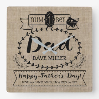Happy Father's Day Number 1 One Dad Monogram Logo Square Wall Clock