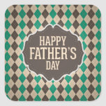 Happy Father's Day Argyle Pattern Square Sticker