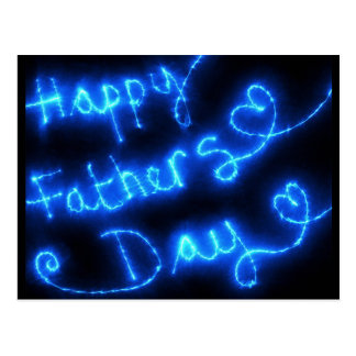 Happy Father's Day Blue Lights Postcard