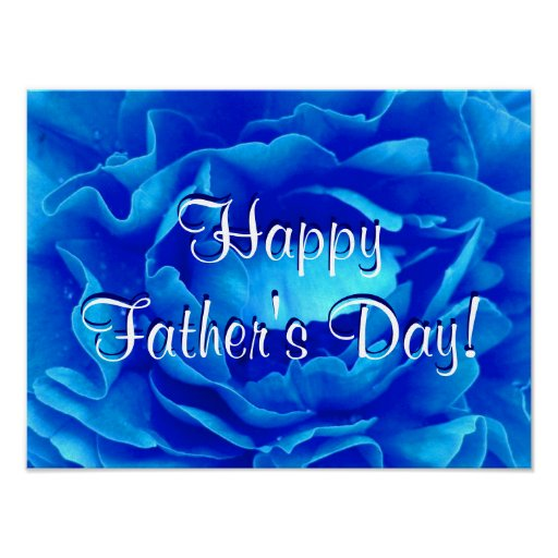 Happy Father's Day Blue Rose Poster