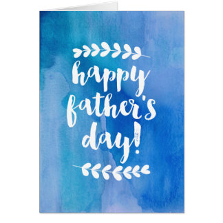 Happy Father's Day | Blue Watercolor Greeting Card