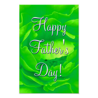 Happy Father's Day Bright Green Rose Poster