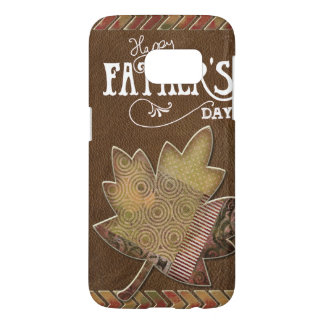 Happy Father's Day - Brown Leather Maple Leaf