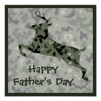 Happy Father's Day: Camo Deer Posters