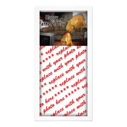 Happy Father's Day - Couch Potatoes Dad Asleep Customized Photo Card