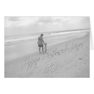 Happy Father's Day Dad walking on beach Greeting Card
