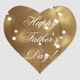Happy Father's Day Elegant Gold Brown Lights Heart Sticker