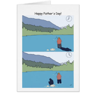 Happy Father's Day Fishing Card - Funny Cartoon