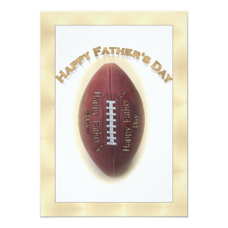 Happy Father's Day Football On Gold Background 5x7 Paper Invitation Card