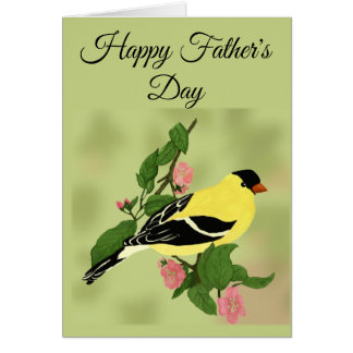 Happy Father's Day Goldfinch bird on branch Card