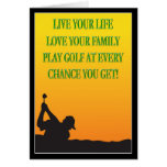 Happy Father's Day Golfer In The Sunset Card