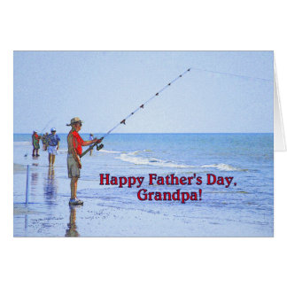 Happy Father's Day, Grandpa, Fishing on the Beach Card