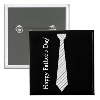Happy Father's Day! Light Gray Stripes Fake Tie Pinback Button