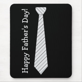 Happy Father's Day! Light Gray Stripes Fake Tie Mouse Pad
