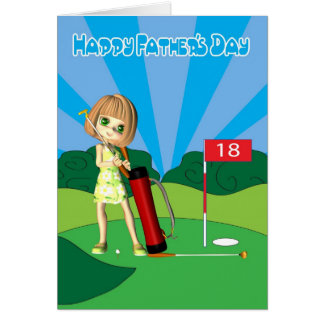 Happy Father's Day little girl playing golf Greeting Card